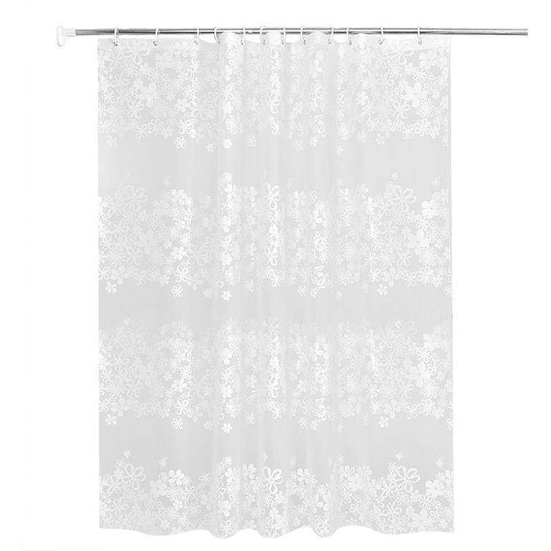 modern bathroom waterproof transparent flower shower curtain peva plastic hook bathroom curtain