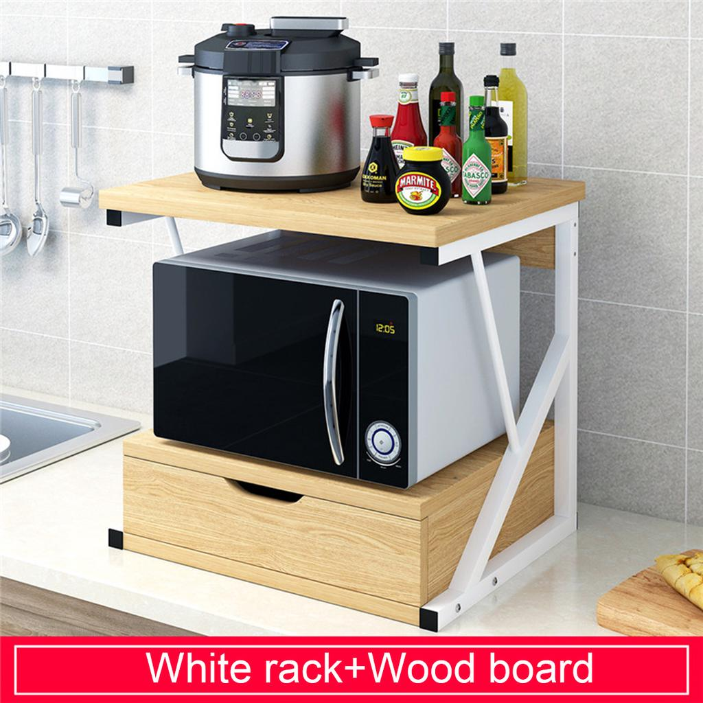 2 tiers wood kitchen baker drawer rack microwave oven stand storage shelf holder