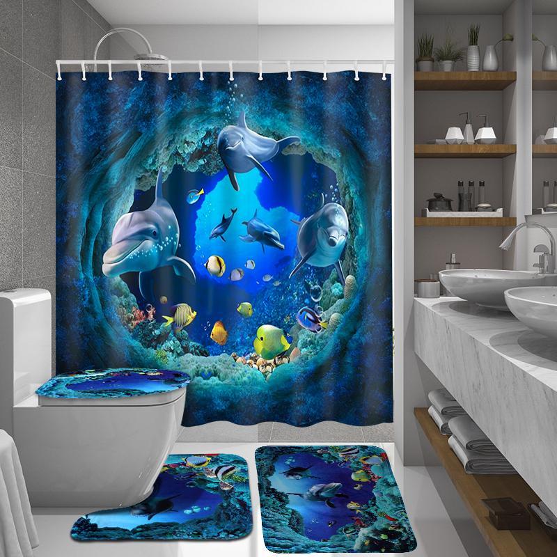4pcs set 3d ocean dolphin pattern waterproof bathroom curtains shower curtain set anti skid bath mat pedestal rugs toilet cover floor lid