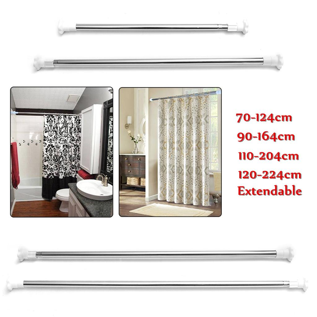 adjustable curtain rod steel window bathroom bar shower extendable telescopic wardrobe pole hanger