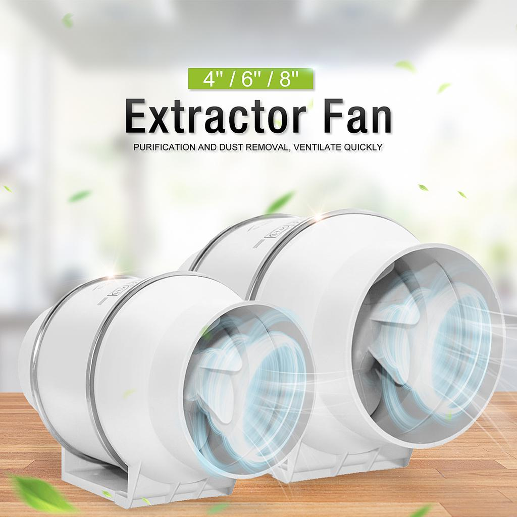 silent inline pipe duct fan strong ventilation system extractor exhaust fan for kitchen bathroom