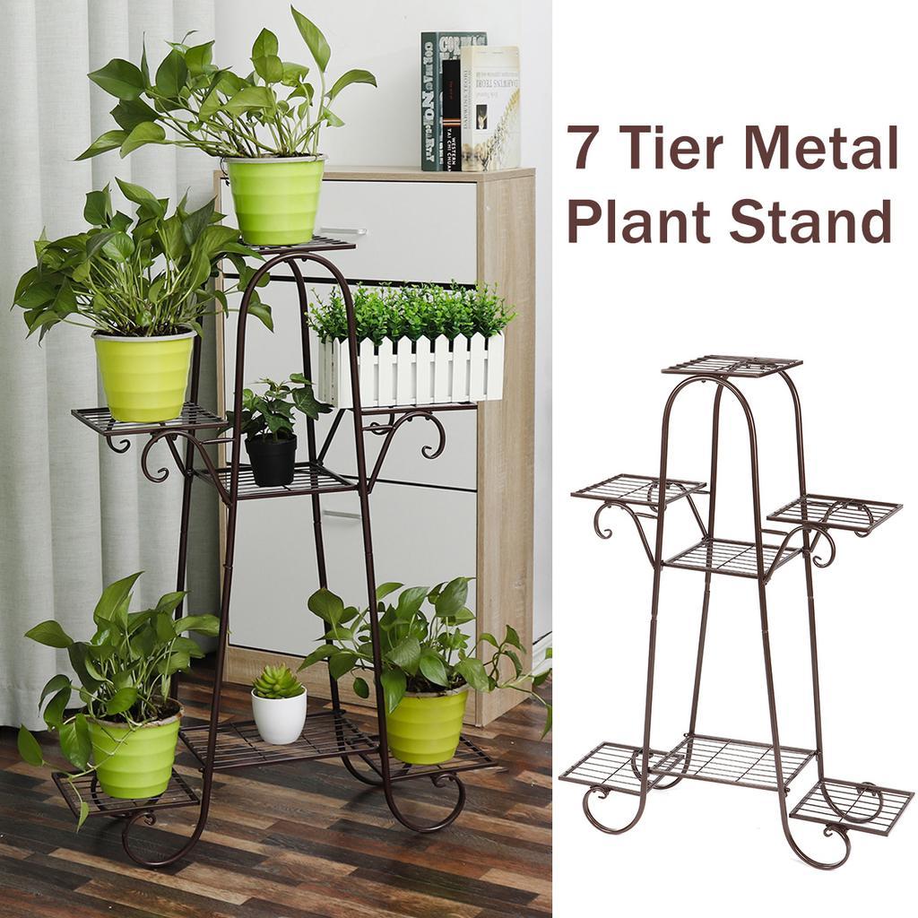 7 tier plant stands indoor metal shelf stand outdoor multilayer potted planters display rack patio garden size 66 x 22 102cm