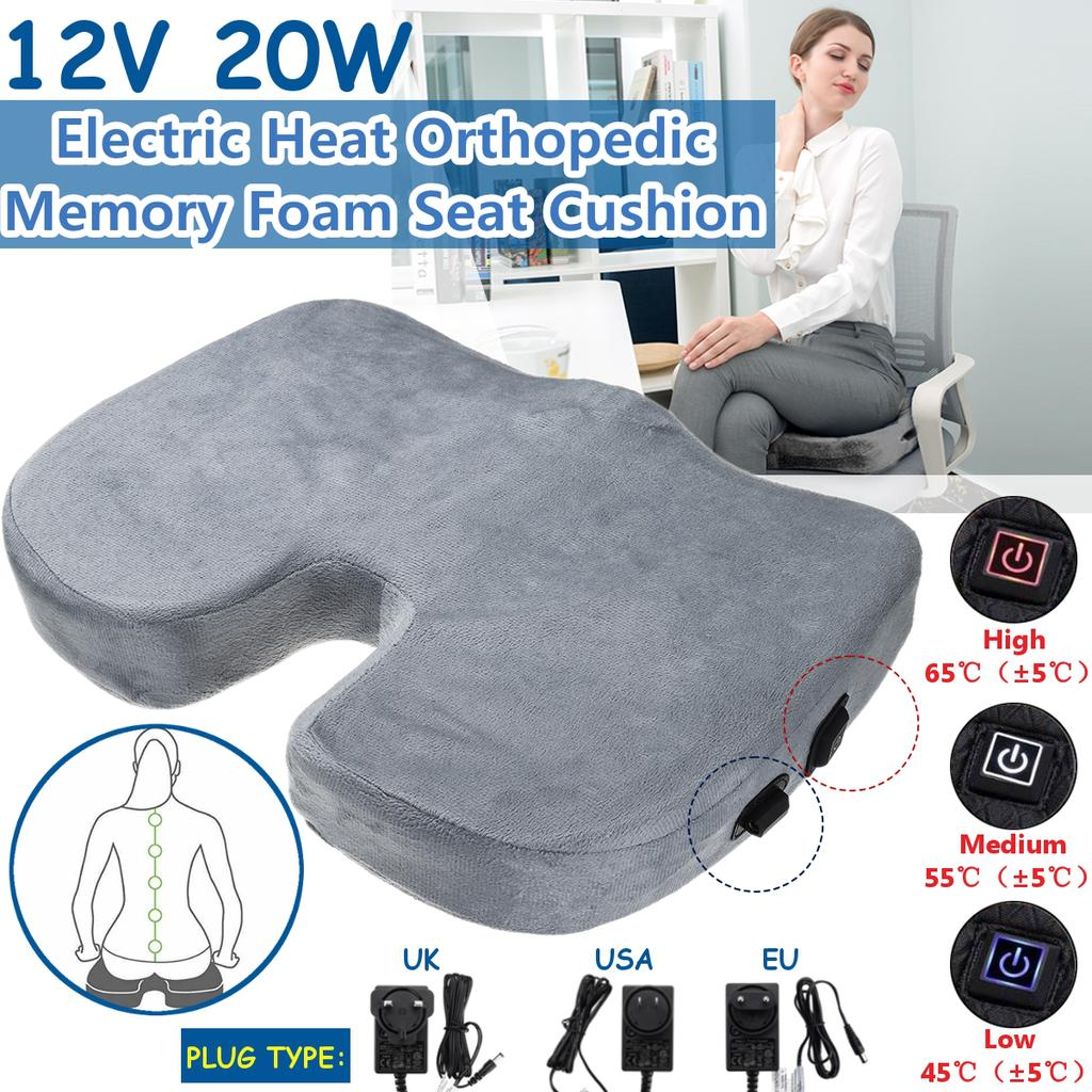 electric heated orthopedic memory foam seat cushion for office travel driving hot buttocks antislip