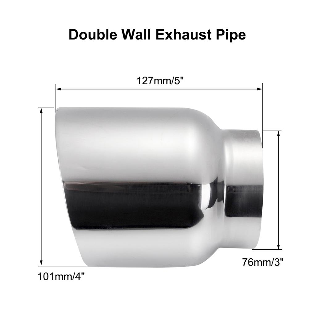 universal car exhaust tip 3 inlet 4 outlet auto tail pipe muffler dual wall angle cut outlet nozz