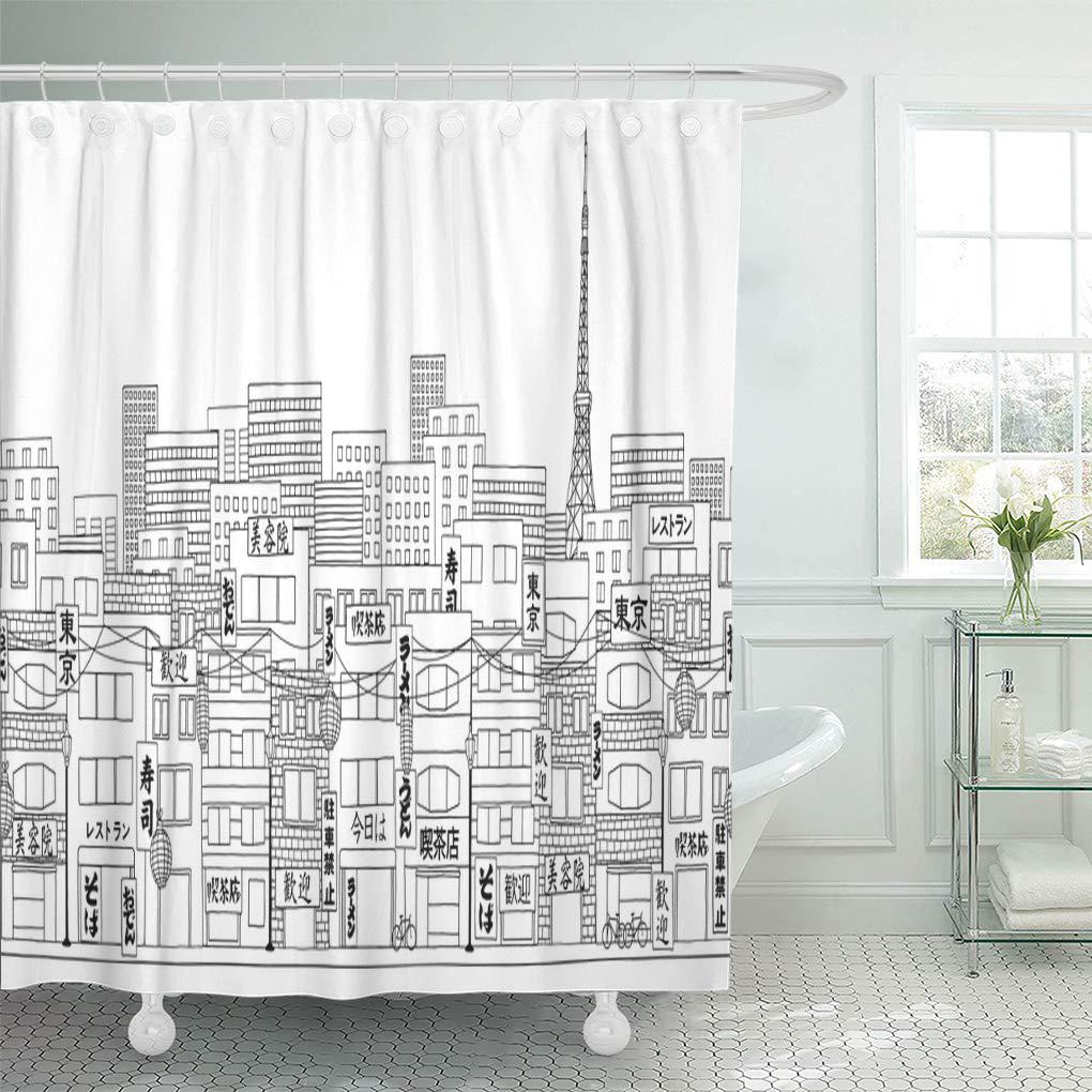 tokyo of the city skyline black and white shower curtain 66x72inch 165x180cm