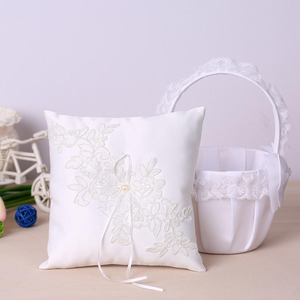 7 7 inch satin ring bearer pillow and lace flower girl basket wedding set flower basket