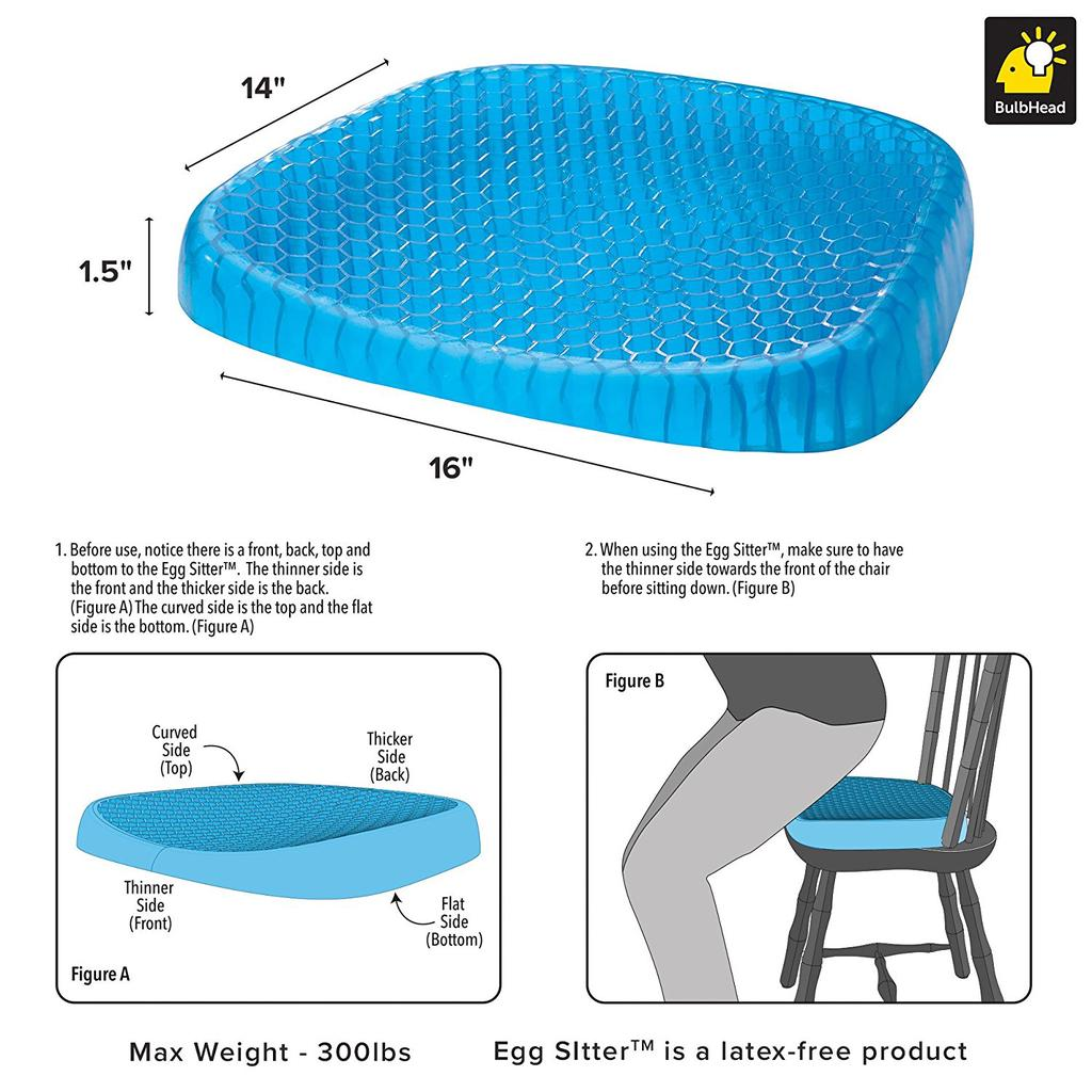 egg sitter seat cushion with non slip cover breathable honeycomb design absorbs pressure points