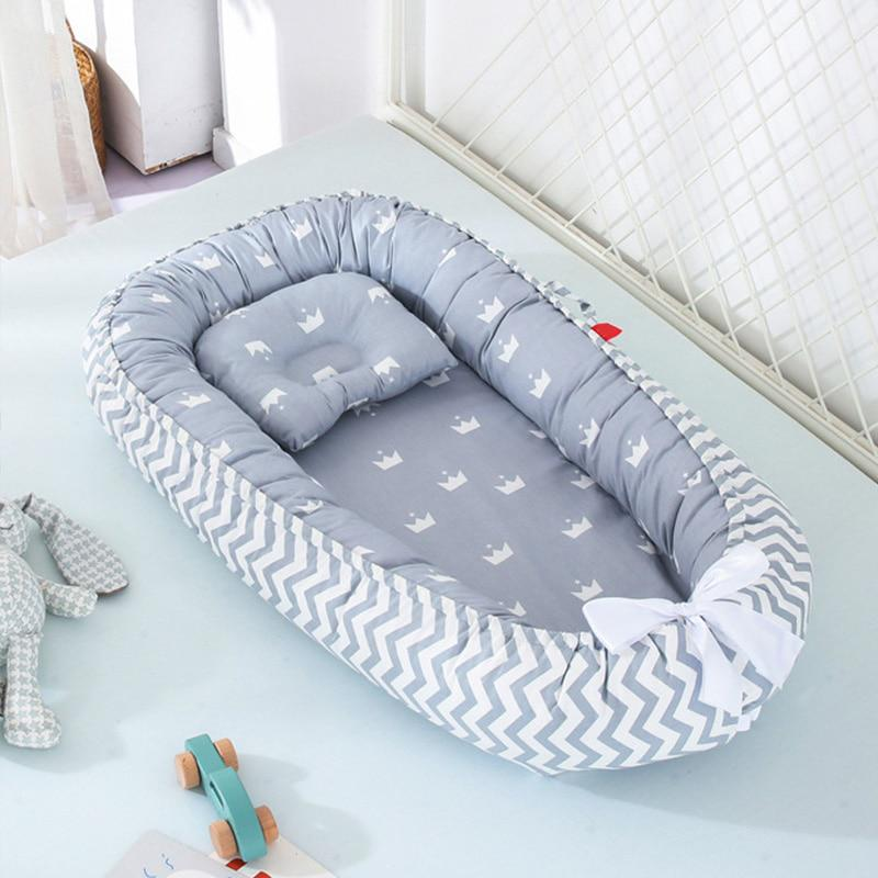 soft cotton baby bed with pillow portable baby nest crib travel bed infant cradle washable bed bassinet bumper 85 50 cm