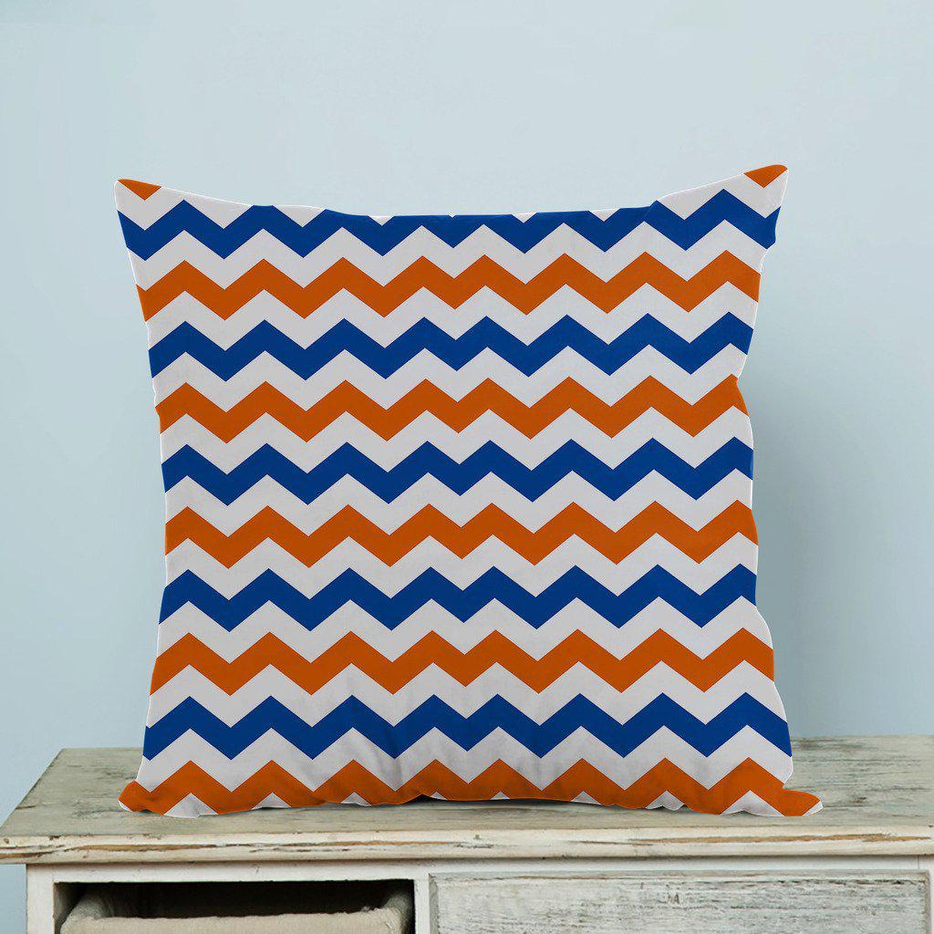 navy deep blue orange chevron pillow case pillow cover two sides 18x18inch 45x45cm