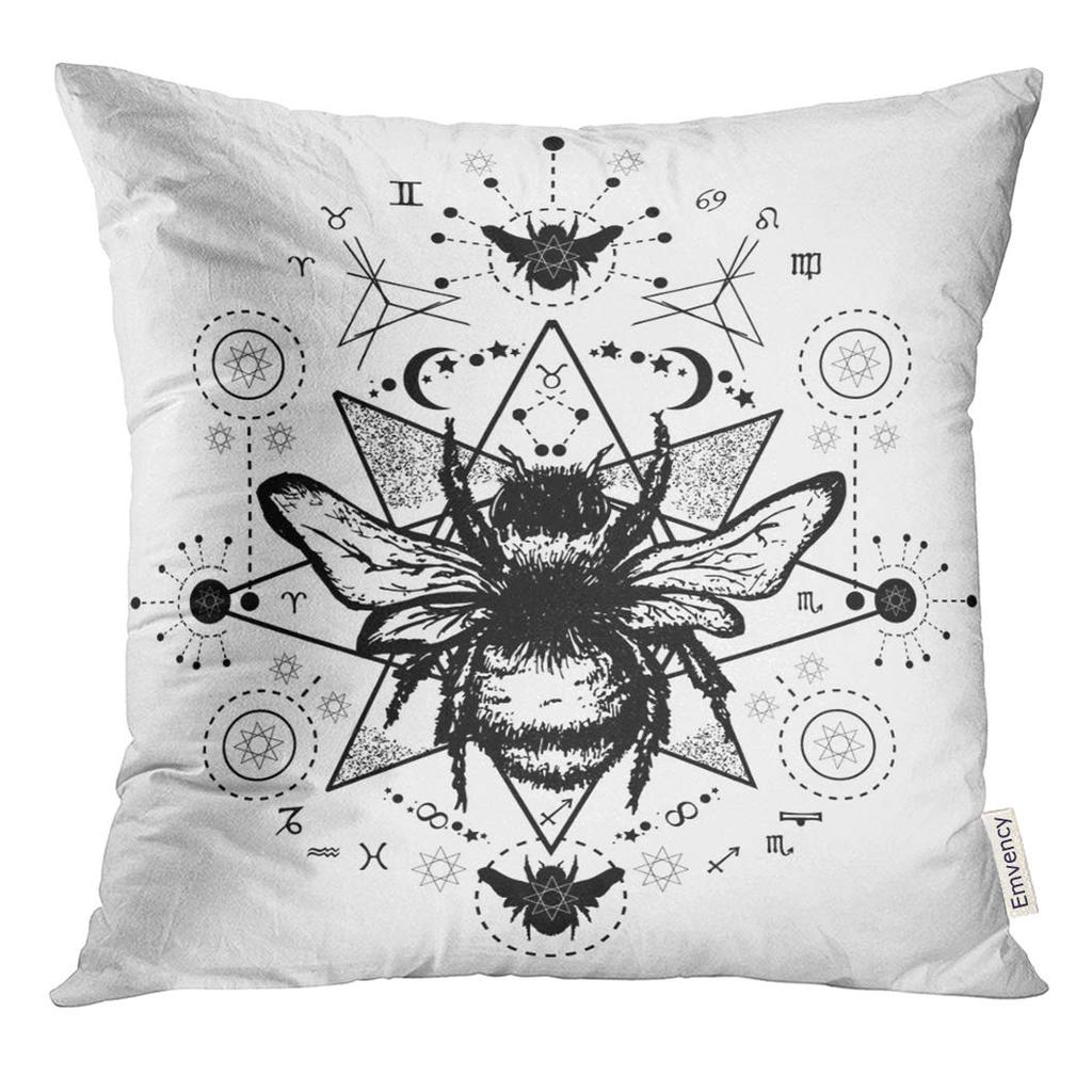 mystic bee tattoo sketch of bumblebee mystical and esoteric symbols boho pillow case 18x18inch 45x45cm