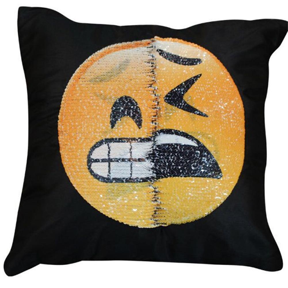 reversible sequin mermaid pillow emoji pillowcase cover smile face cushion decoration