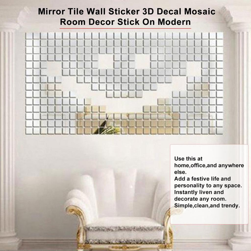 100 piece mirror tile wall sticker 3d decal mosaic room decor stick on modern from cooking