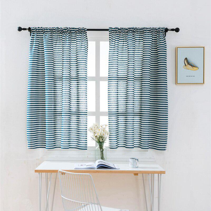 half blackout white blue stripes curtains short blinds rod pocket for small window 1 panel