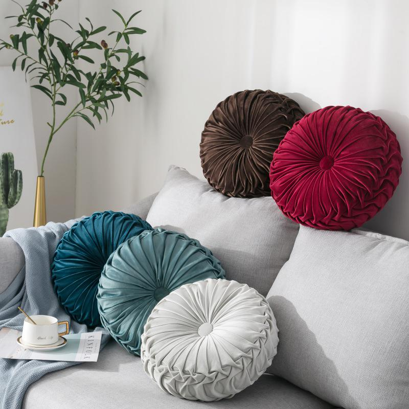 velvet pleated round pumpkin throw pillow couch cushion floor pillow decorative for home sofa chair bed car buy at a low prices on joom e commerce