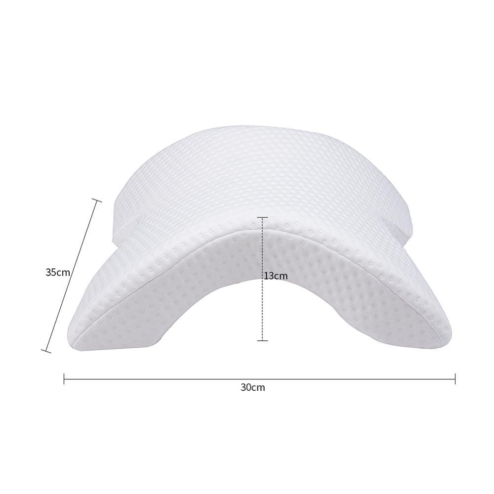 arch u shaped curved memory foam sleeping neck cervical pillow with hollow design arm rest hand pillow for couple side sleepers