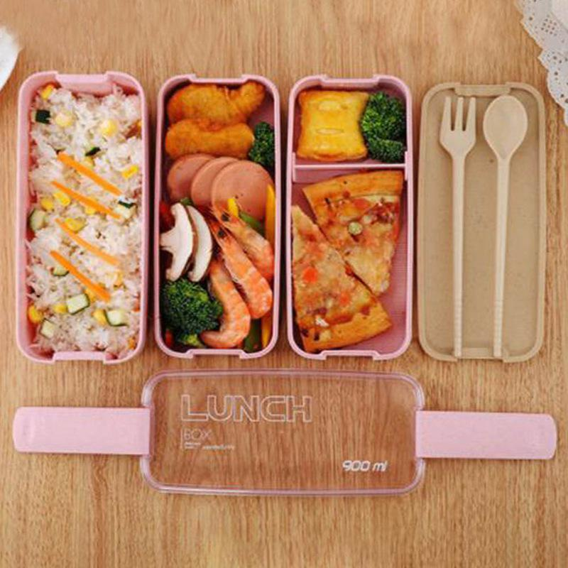 900ml healthy material lunch box 3 layer wheat straw bento boxes microwave food storage lunchbox