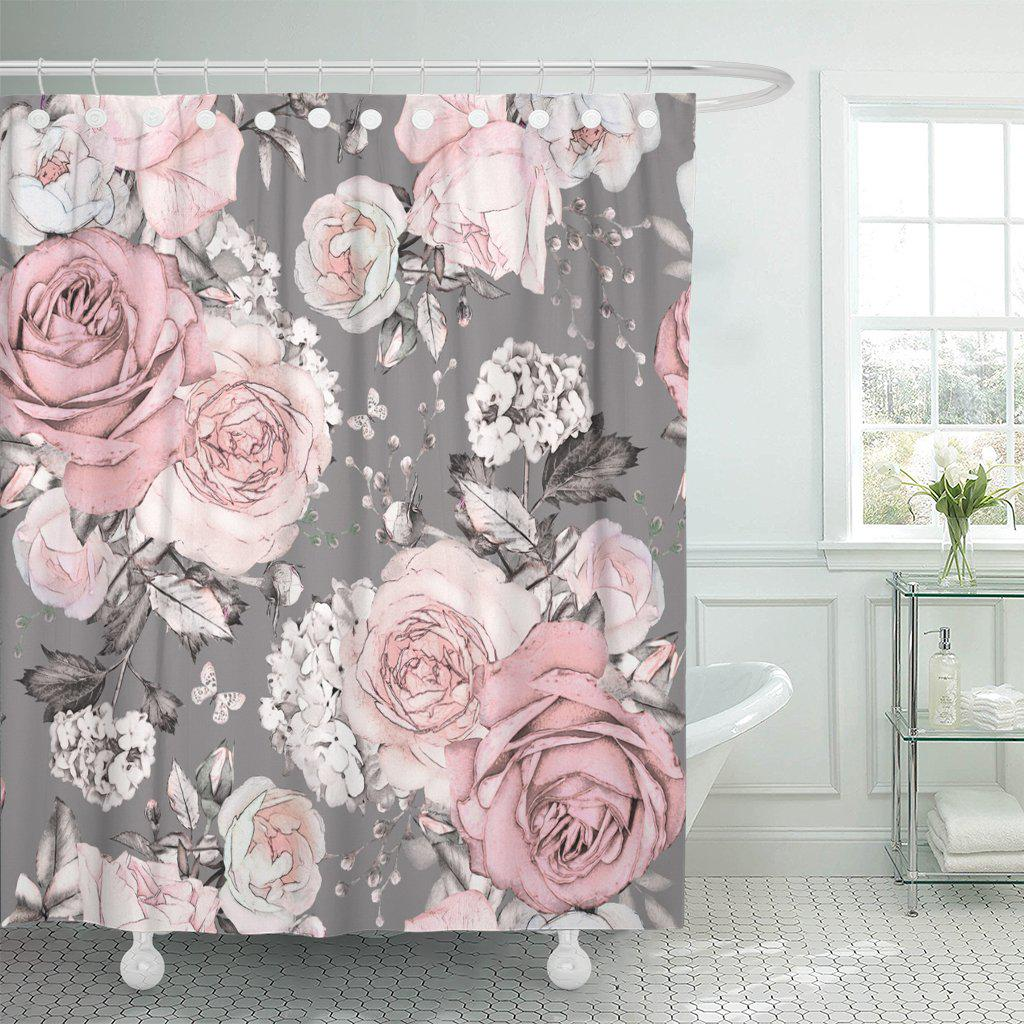 pink flowers and leaves on gray watercolor floral pattern polyester shower curtain 60x72inch 150x180cm