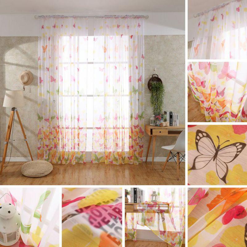butterfly tulle door window curtain balcony voile door screen curtain