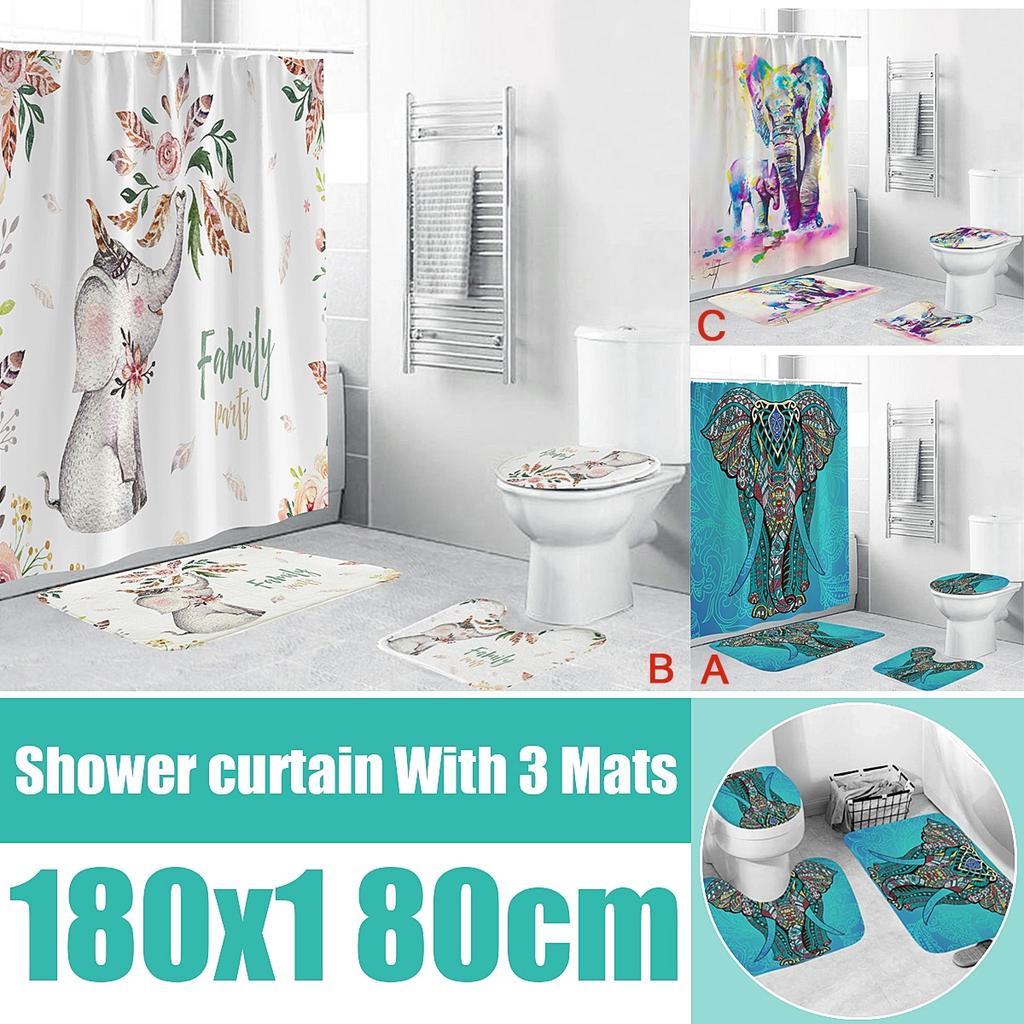 bathroom set waterproof shower curtain non slip mats bath carpets toilet seat cover floor mat decor buy at a low prices on joom e commerce platform