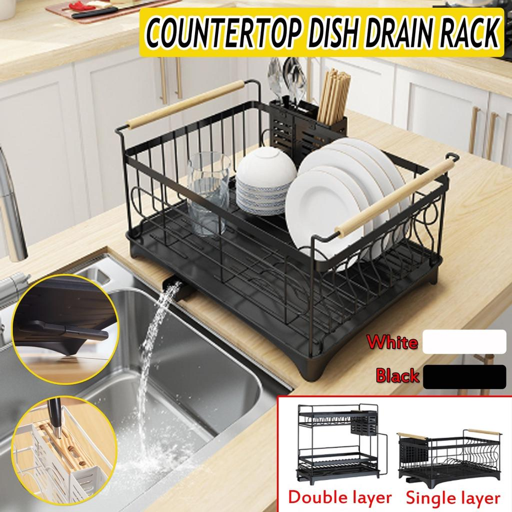 double single layer kitchen countertop dish rack dish bowl drain storage stainless steel drying buy at a low prices on joom e commerce platform