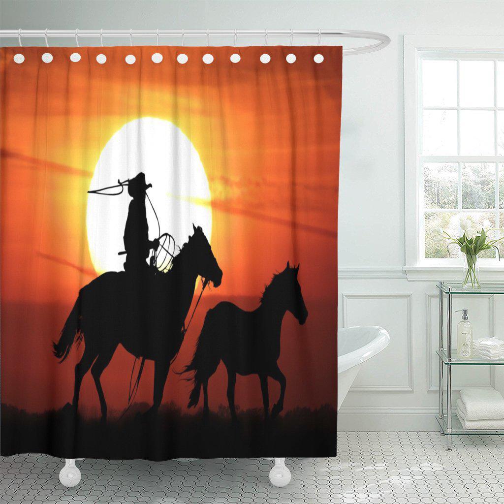 horse cowboy horseback riding mustang roping silhouette shower curtain 60x72inch 150x180cm