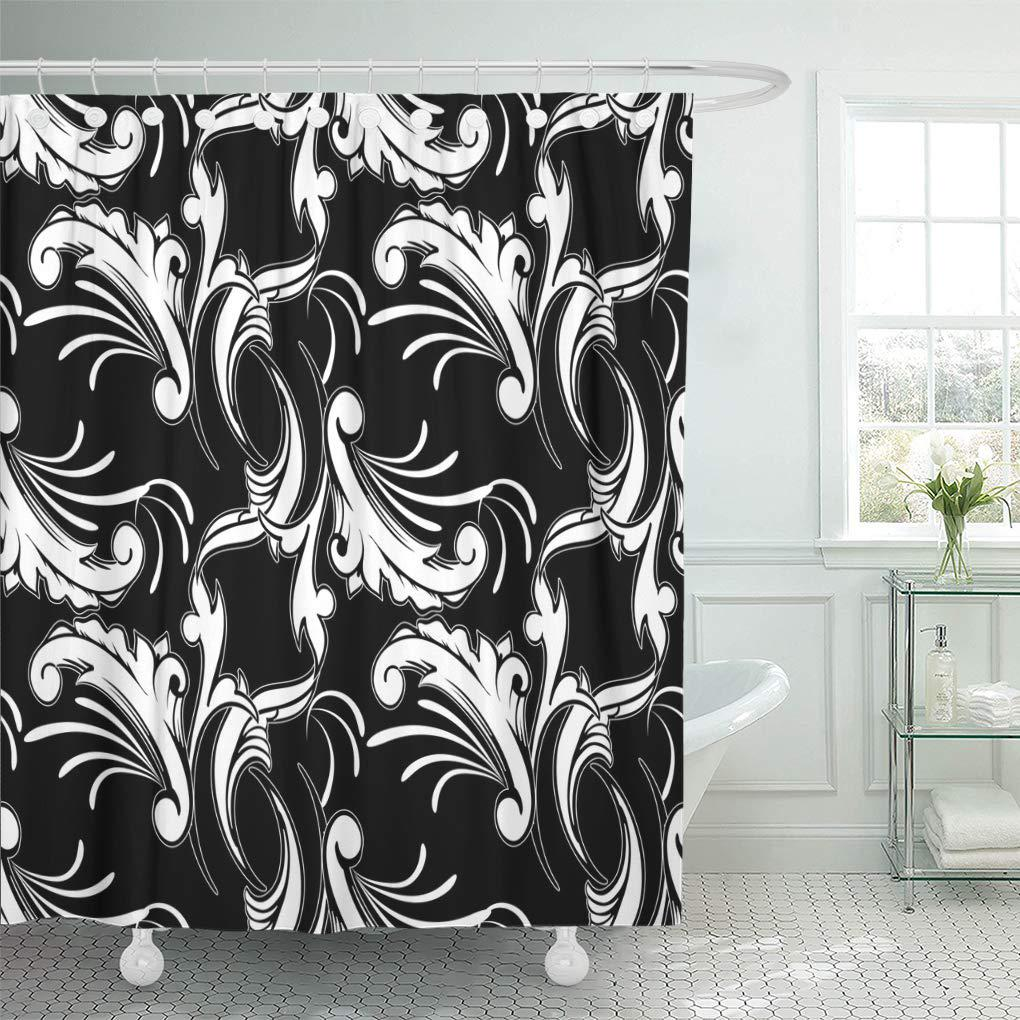 vintage floral ornate black damask white baroque flowers scroll shower curtain 60x72inch 150x180cm
