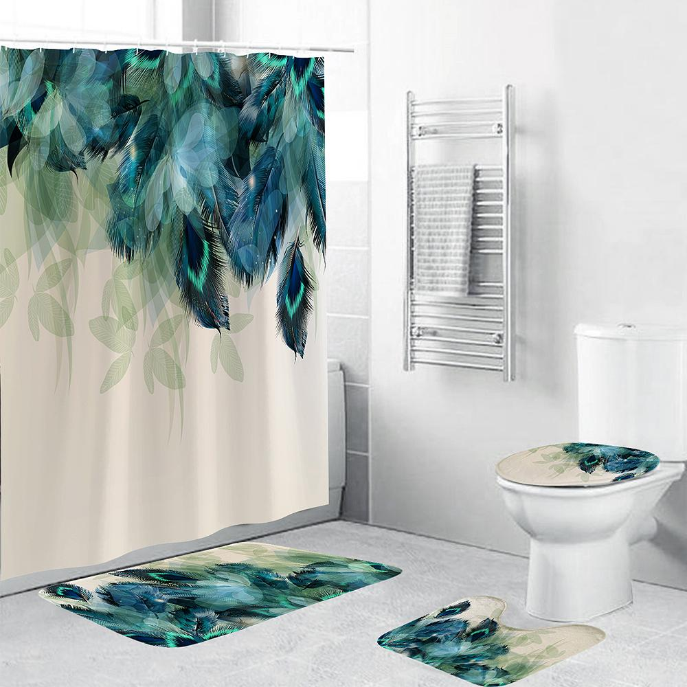 carpet bathroom foot pad peacock feather bath mat and shower curtain set pvc toilet toilet seat covers home decor