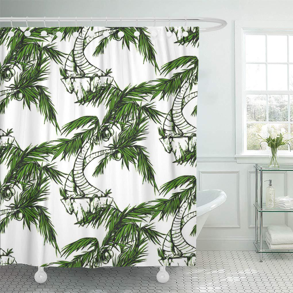 seamless texture palms nice background for your design nature shower curtain 66x72inch 165x180cm
