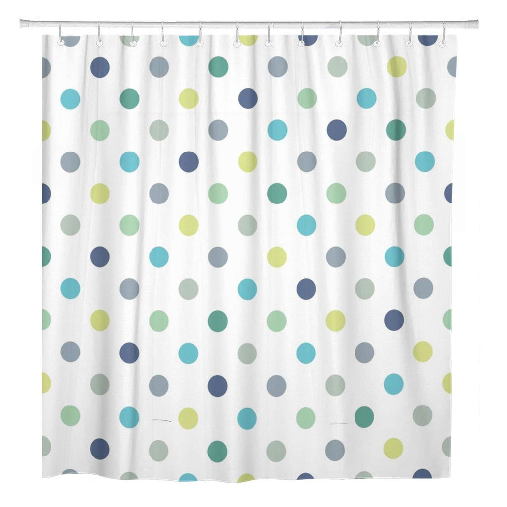 cool mint blue and yellow green polka dots shower curtain 66x72inch 165x180cm