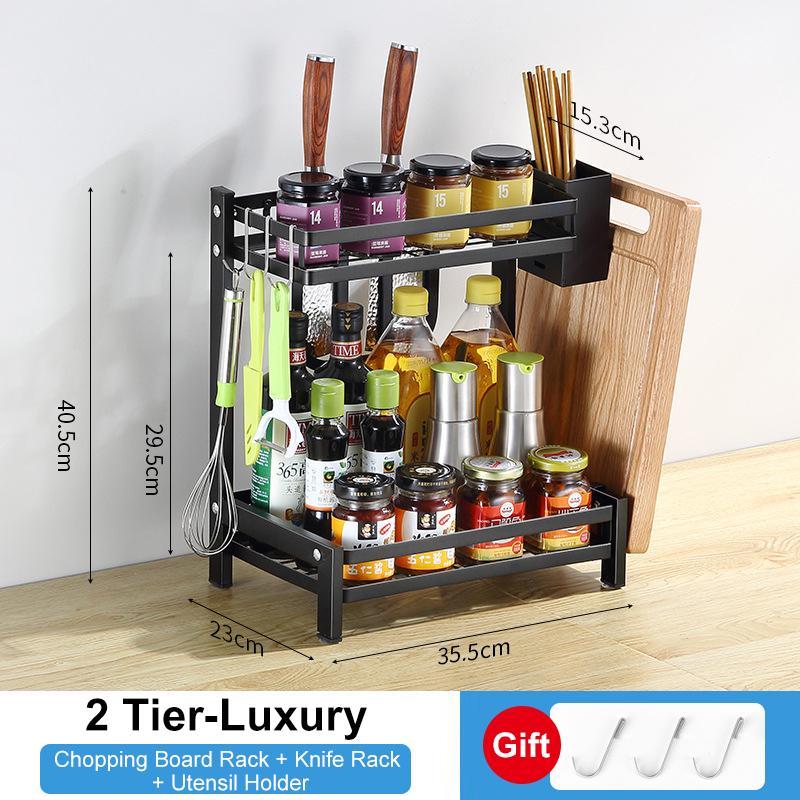 2 3 tier spice rack kitchen countertop storage organizer stainless steel corner shelf holder with hooks for seasoning spice jars bottle knife utensils
