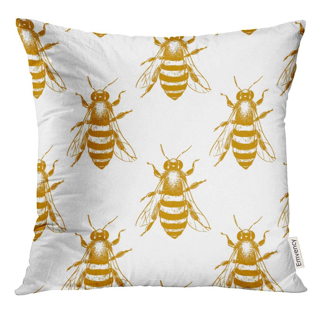 entomology with honey bees made in retro style beautiful ink drawing animal pillow case 18x18inch 45x45cm