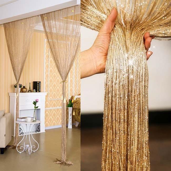 100x200cm flash shiny tassel string door curtain window room divider curtain valance home decoration
