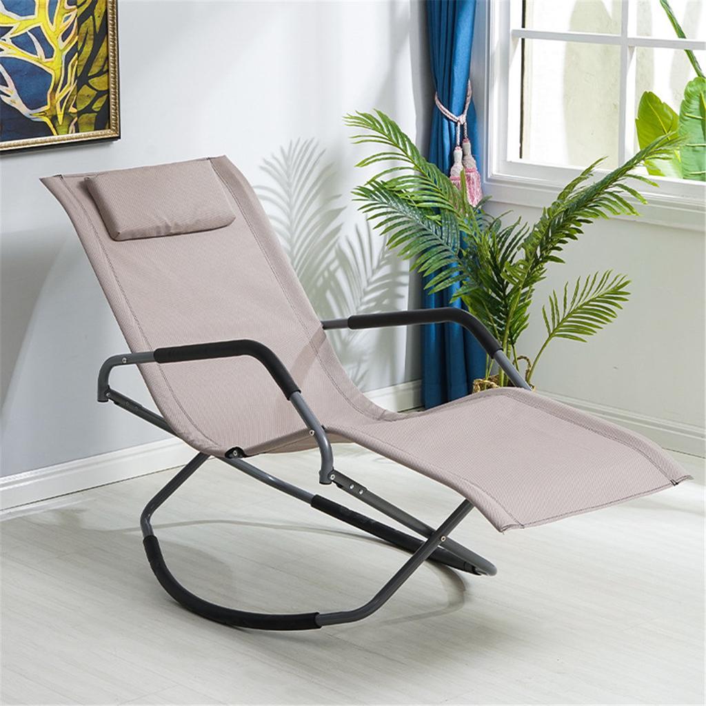 balcony rocking chair recliner sun chair outdoor beach living room nap chaise lounger with headrest pillow