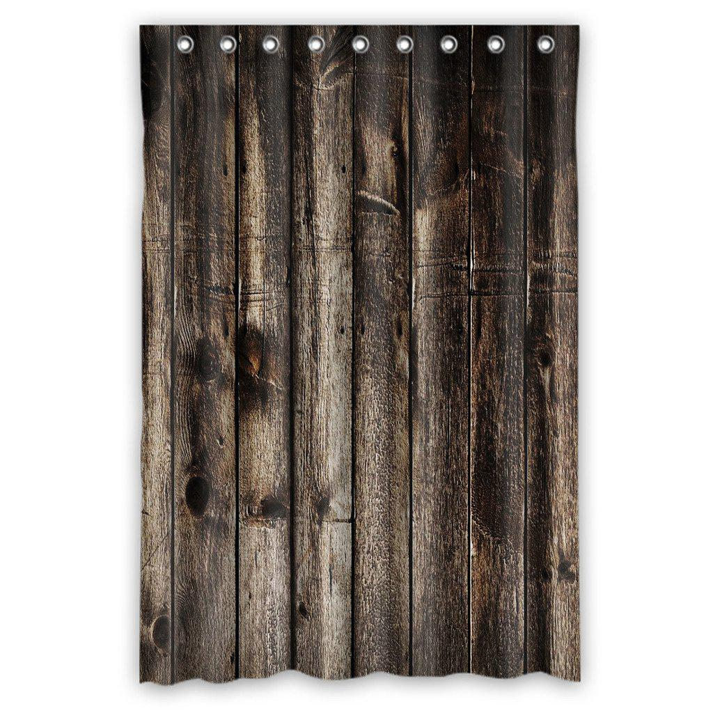 rustic old barn wood waterproof polyester shower curtain hooks 48x72inch 120x180cm