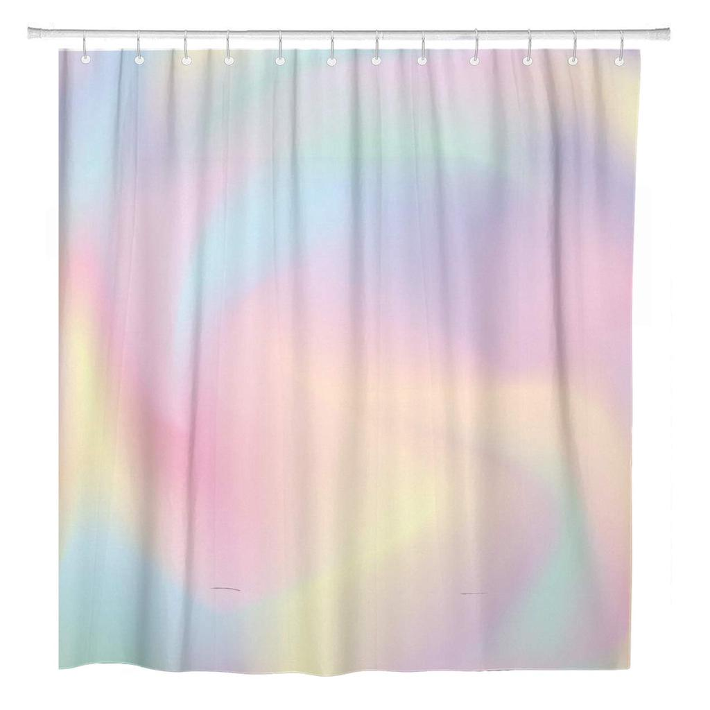 watercolor girly ombre blue pattern gradient pastel iridescent rainbow shower curtain 60x72inch 150x180cm
