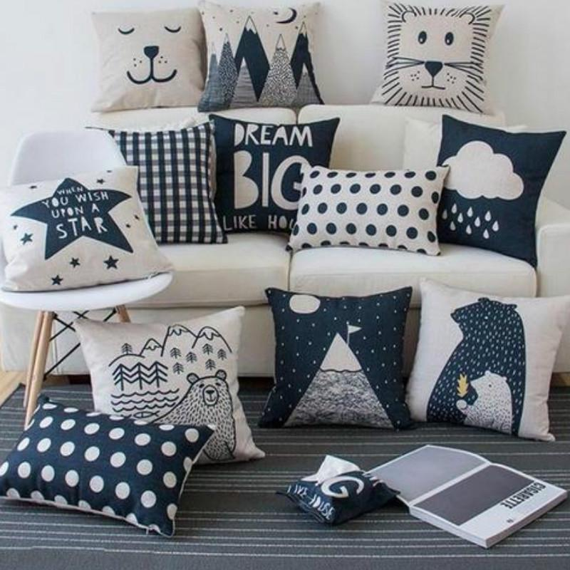 nordic cushion cover polar bear lion cloud dark blue home decoration kids pillow case buy at a low prices on joom e commerce platform