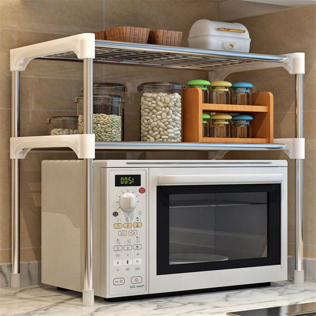 2 tier 304 stainless steel adjustable microwave oven shelf rack standing type multi functional kitchen bathroom storage shelf