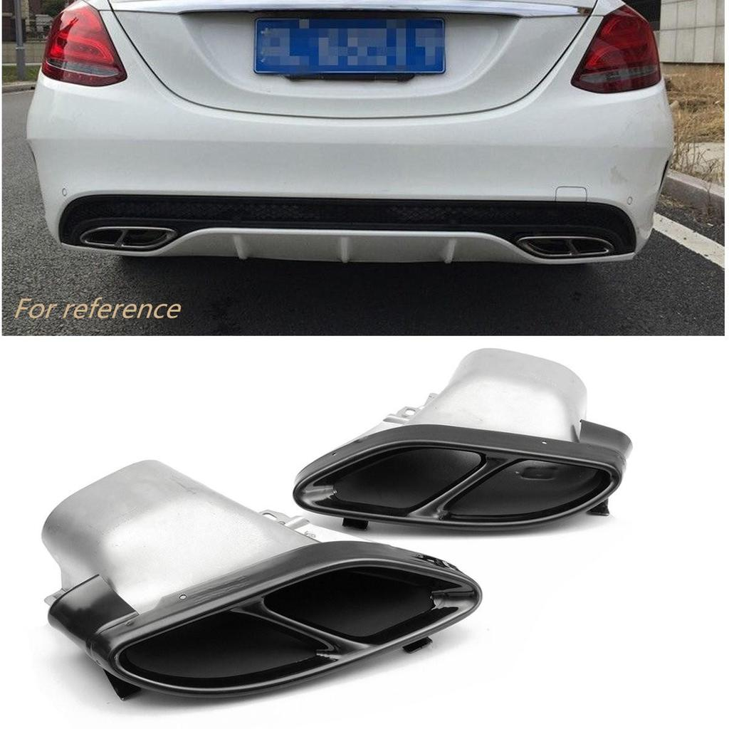a pair rear silencer exhaust muffler tail pipe for mercedes benz w205 c class 2015 black chrome buy at a low prices on joom e commerce platform