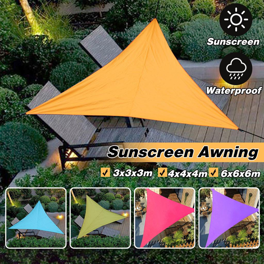 3x3m 4x4m 6x6m waterproof triangle awning shade sail sun outdoor sun shelter shade sail garden patio pool camping picnic tent buy at a low prices on