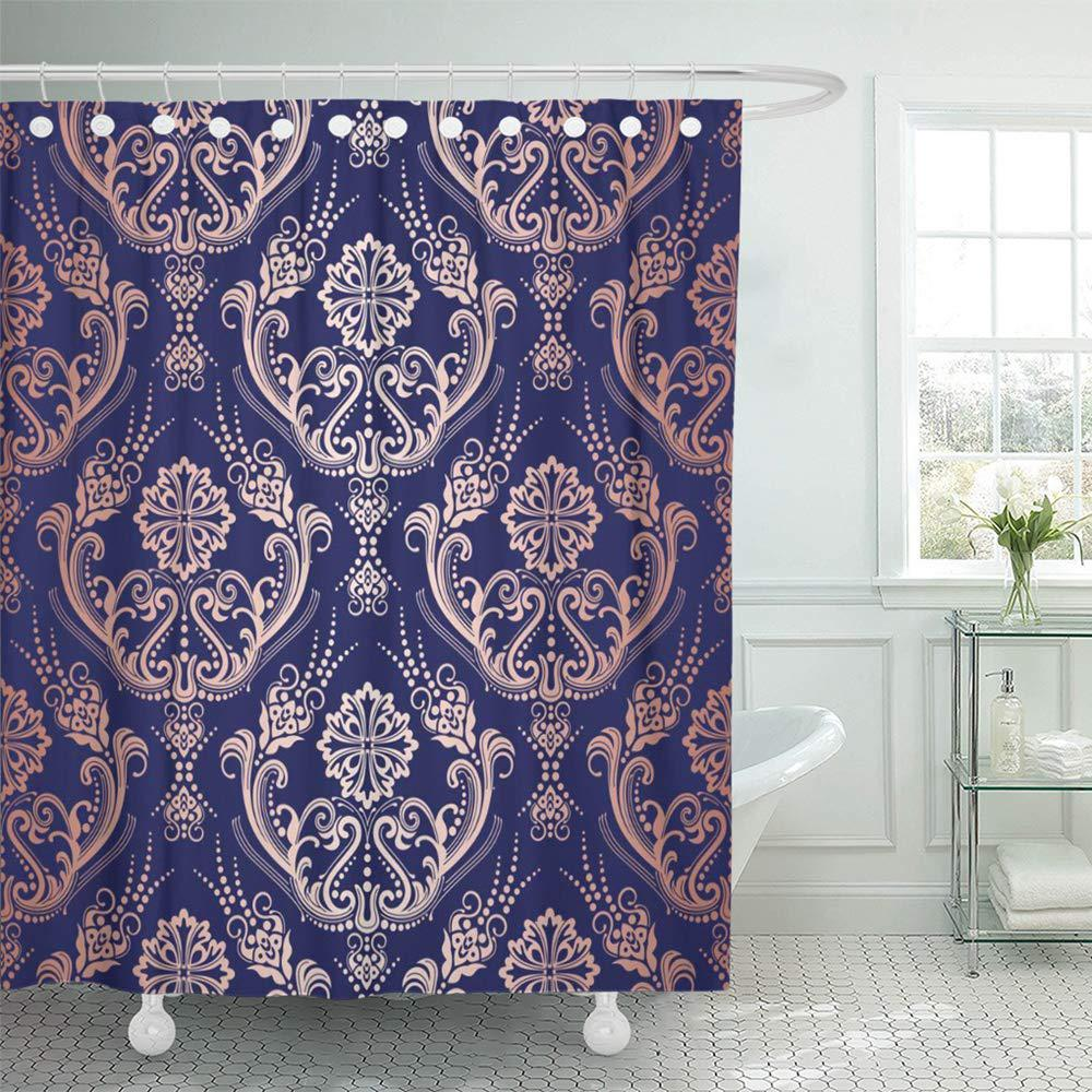 blue beautiful rose gold floral damask on this is pink continuous decoration shower curtain 66x72inch 165x180cm