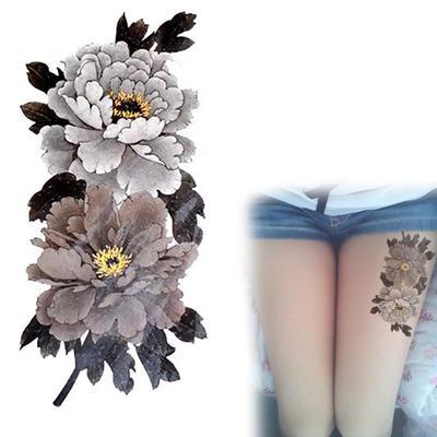 Nueva China Peonía Flor Tatuaje Serie Colores Oscuros Impermeable