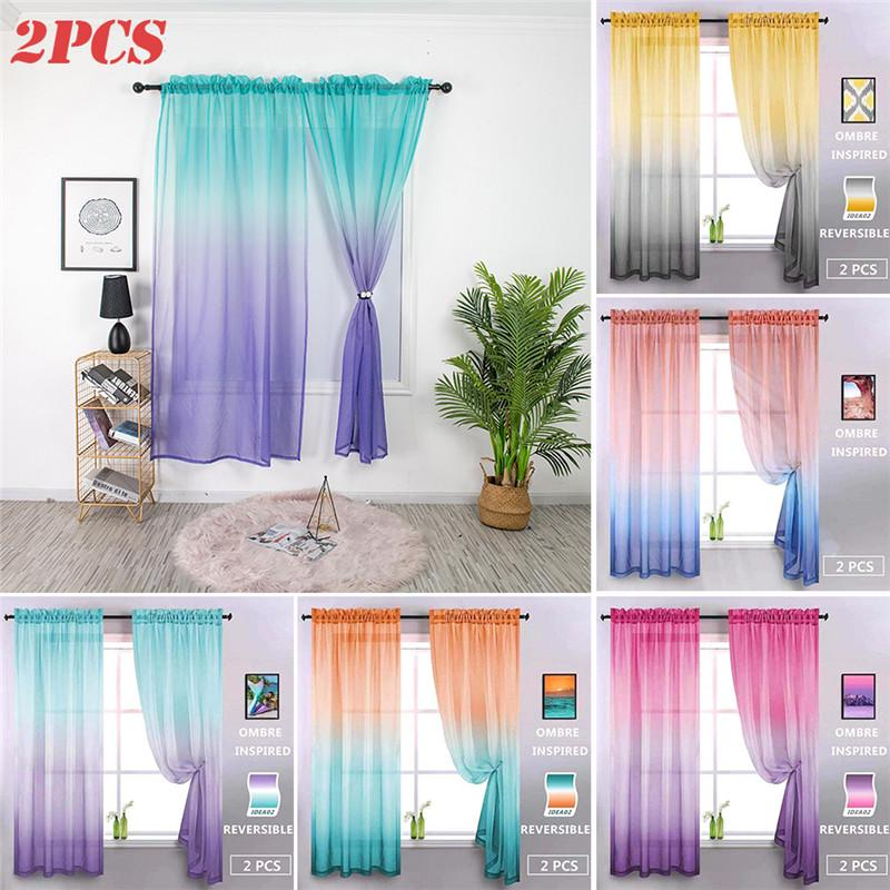 2020 new sheer curtains for bedroom gradient color tulle door window curtain botanical geometric drapes buy at a low prices on joom e commerce