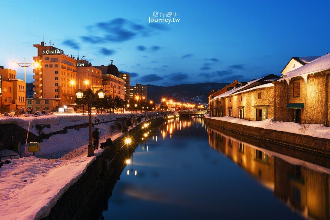 日本,北海道,小樽,小樽運河,夜景,小樽運河冬天夜景