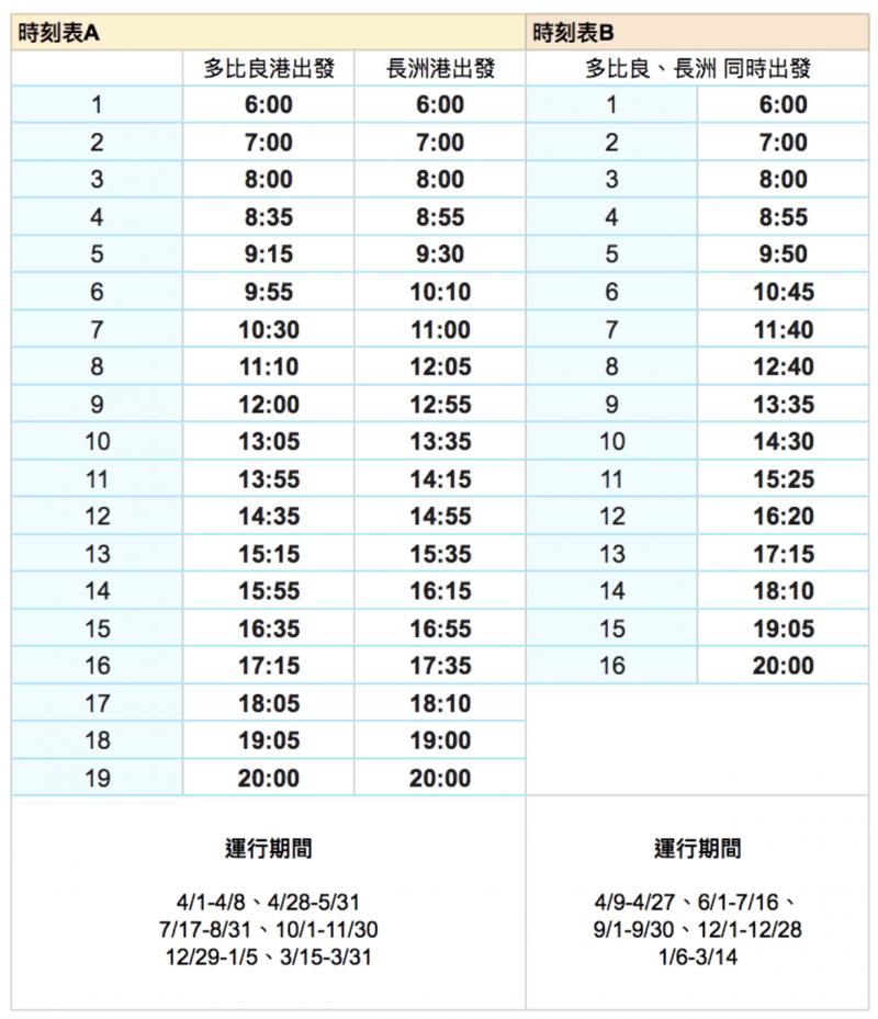 有明海渡輪時刻表