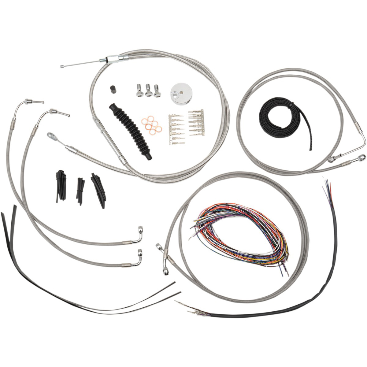 La Choppers Stainless Complete Cable Line Wiring Handlebar Kit For 12 14 Bars On Models With
