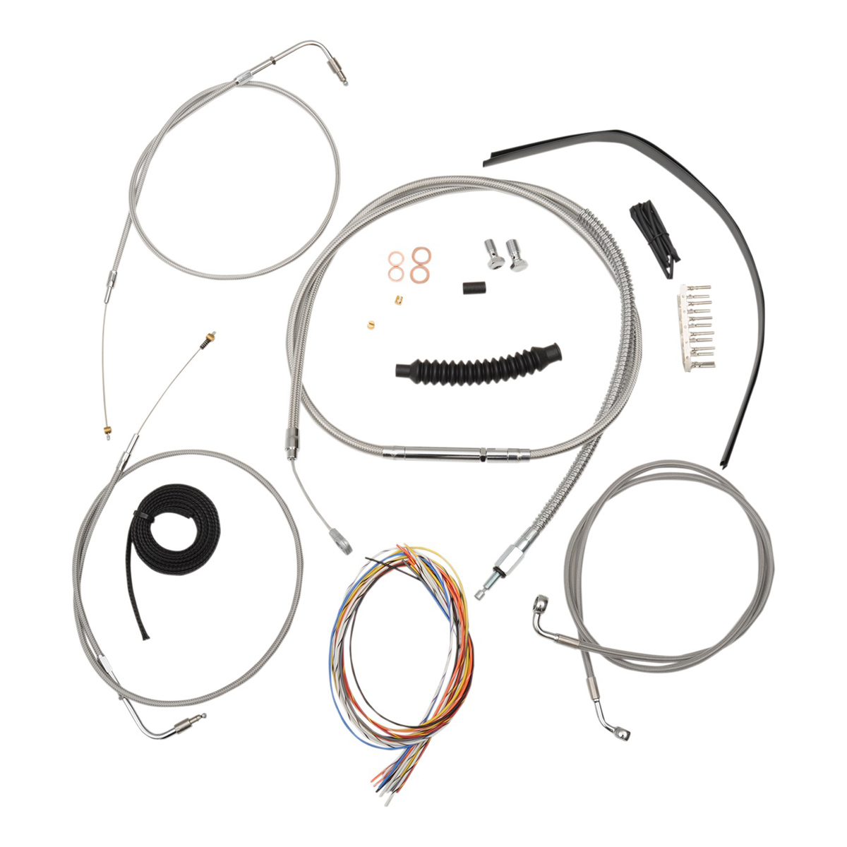 La Choppers Stainless Complete Cable Line Wiring Handlebar Kit For 18 20 Bars On Models