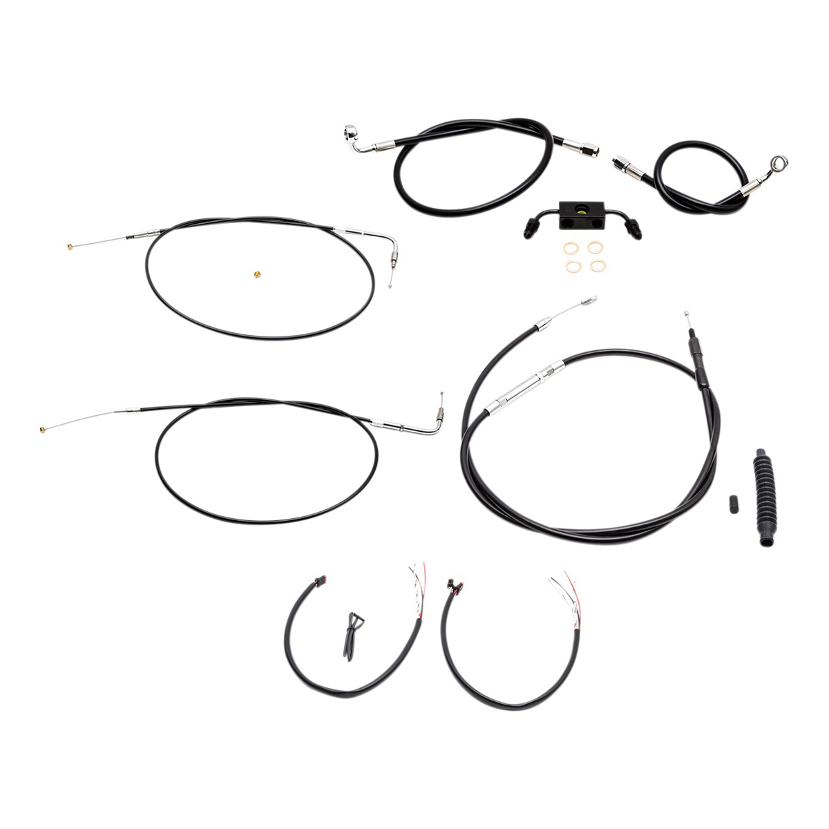LA Choppers Black Complete Cable/Line/Wiring Handlebar Kit
