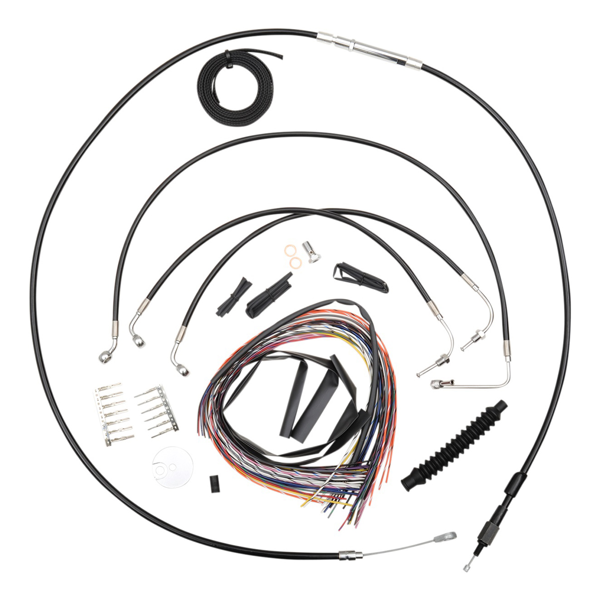 La Choppers Black Complete Cable Line Wiring Handlebar Kit