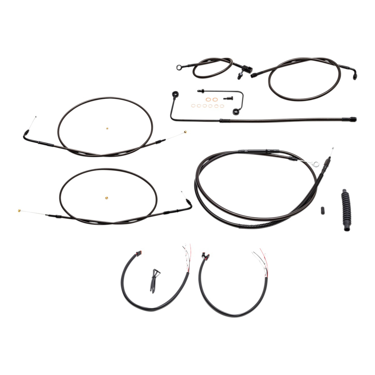 La Choppers Midnight Complete Cable Line Wiring Handlebar Kit For Mini Ape Bars On Models With