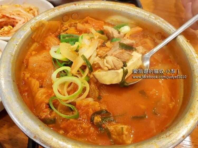 【韓國美食】新沙站\金北順大鍋家김북순큰남비집,豬頸肉泡菜湯好好吃,是一個人也能大口享用的美食哦!